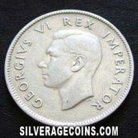 1943 George VI Sourth African Silver 2 Shillings