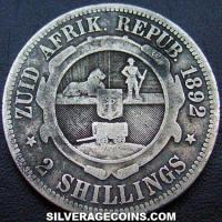 1892 South African ZAR Silver 2 Shillings