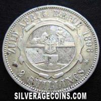 1896 South African ZAR Silver 2 Shillings