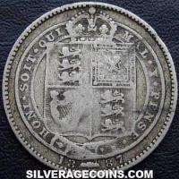 "1887 Queen Victoria British Silver ""Jubilee Small Head"" Shilling"