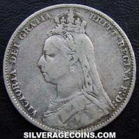 "1889 Queen Victoria British Silver ""Jubilee Large Head"" Shilling"
