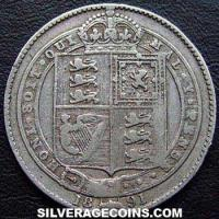 "1891 Queen Victoria British Silver ""Jubilee Large Head"" Shilling"