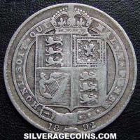 "1892 Queen Victoria British Silver ""Jubilee Large Head"" Shilling"