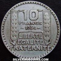 1934 French Silver 10 Francs