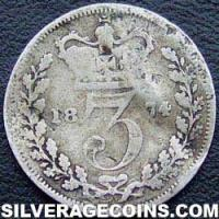 "1874 Queen Victoria British Silver ""Young Head"" Threepence"