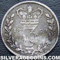 "1878 Queen Victoria British Silver ""Young Head"" Threepence"