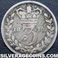 "1879 Queen Victoria British Silver ""Young Head"" Threepence"
