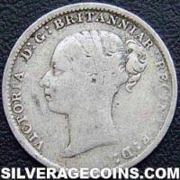 "1883 Queen Victoria British Silver ""Young Head"" Threepence"