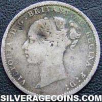 "1884 Queen Victoria British Silver ""Young Head"" Threepence"