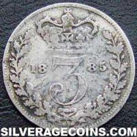 """1885 Queen Victoria British Silver """"Young Head"""" Threepence"""