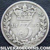 "1887 Queen Victoria British Silver ""Young Head"" Threepence"
