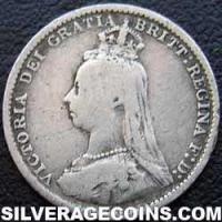 "1889-1B Queen Victoria British Silver ""Jubilee Head"" Threepence"
