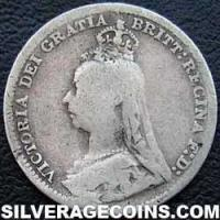 "1890-3C Queen Victoria British Silver ""Jubilee Head"" Threepence"