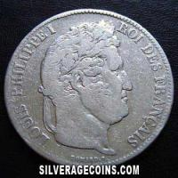 1837 A Louis Philippe 5 French Silver Francs