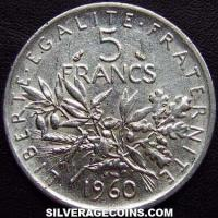 1960 5 French Silver New Francs