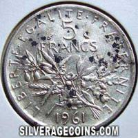 1961 French Silver 5 New Francs