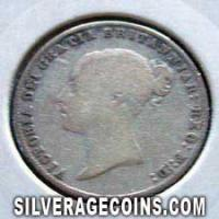 """1858 Queen Victoria British Silver """"Young Head"""" Sixpence"""