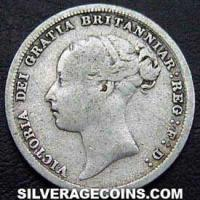 "1883 Queen Victoria British Silver ""Young Head"" Sixpence"