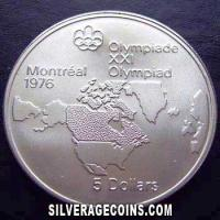 1973 Canadian Silver 5 Dollars (Montreal Olympics)