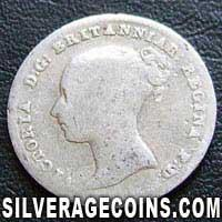 """1839 Queen Victoria British Silver """"Young Head"""" Fourpence"""