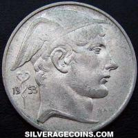 1953 Leopold III Belgian Silver 20 Francs (Dutch, coin alignment)