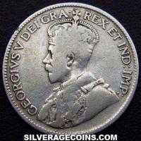 1929 George V Canadian Silver 25 Cents