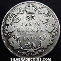 1931 George V Canadian Silver 25 Cents