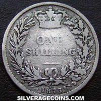 "1873 Queen Victoria British Silver ""Young Head"" Shilling"