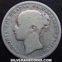 "1875 Queen Victoria British Silver ""Young Head"" Shilling"