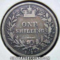"1878 Queen Victoria British Silver ""Young Head"" Shilling"