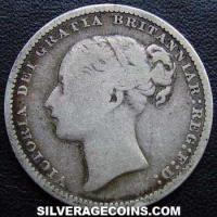 "1880 Queen Victoria British Silver ""Young Head"" Shilling (type 4)"