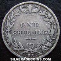 "1885 Queen Victoria British Silver ""Young Head"" Shilling (type 4)"