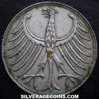 1951J German Federal Republic Silver 5 Marks