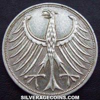 1969 F German Federal Republic Silver 5 Marks