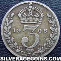 1908 Edward VII British Silver Threepence