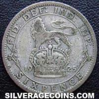 1925-3C George V British Silver Sixpence