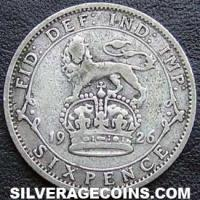 1926-3C George V British Silver Sixpence