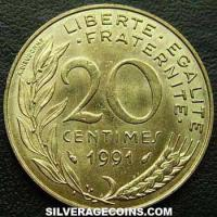 1991 20 French Centimes