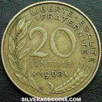1968 20 French Centimes