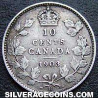 "1903 H Edward VII Canadian Silver ""Dime"" 10 cents"