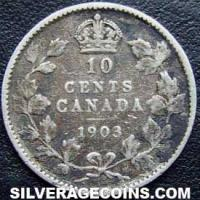 "1903 Edward VII Canadian Silver ""Dime"" 10 cents"