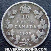"""1905 Edward VII Canadian Silver """"Dime"""" 10 cents"""