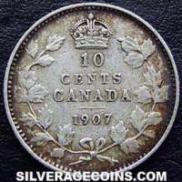 """1907 Edward VII Canadian Silver """"Dime"""" 10 cents"""
