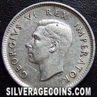 1942 George VI South African Silver Sixpence