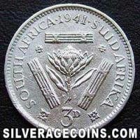 1941 George VI South African Silver Threepence