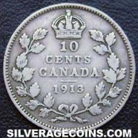 "10 Céntimos ""Dime"" de Plata Canadienses de Jorge V de 1913 small leaves"