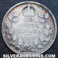 "1915 George V Canadian Silver ""Dime"" 10 cents"