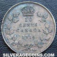 "1916 George V Canadian Silver ""Dime"" 10 cents"