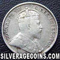 1907 Edward VII Canadian Silver 5 cents