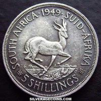 1949 George VI South African Silver 5 Shillings